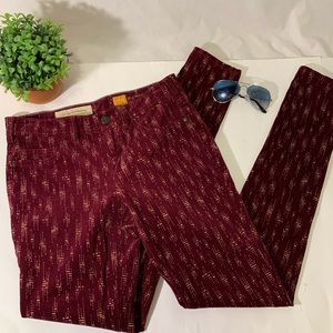 Anthropologie Cranberry and Tan corduroy's.